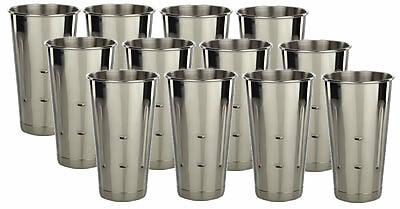 12 Stainless Steel Malt Shake Cups