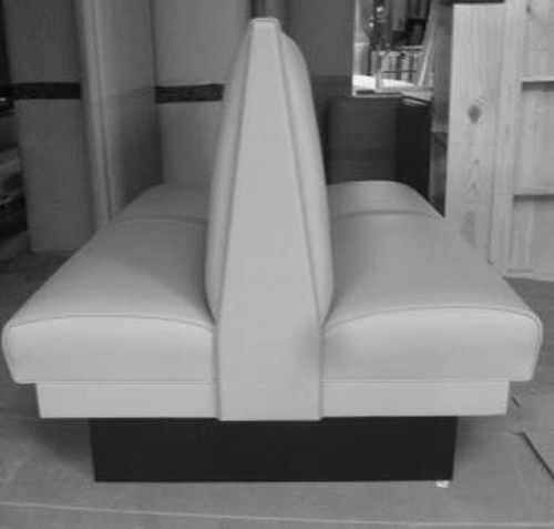 Double booth seat for a restaurant or cafe.
